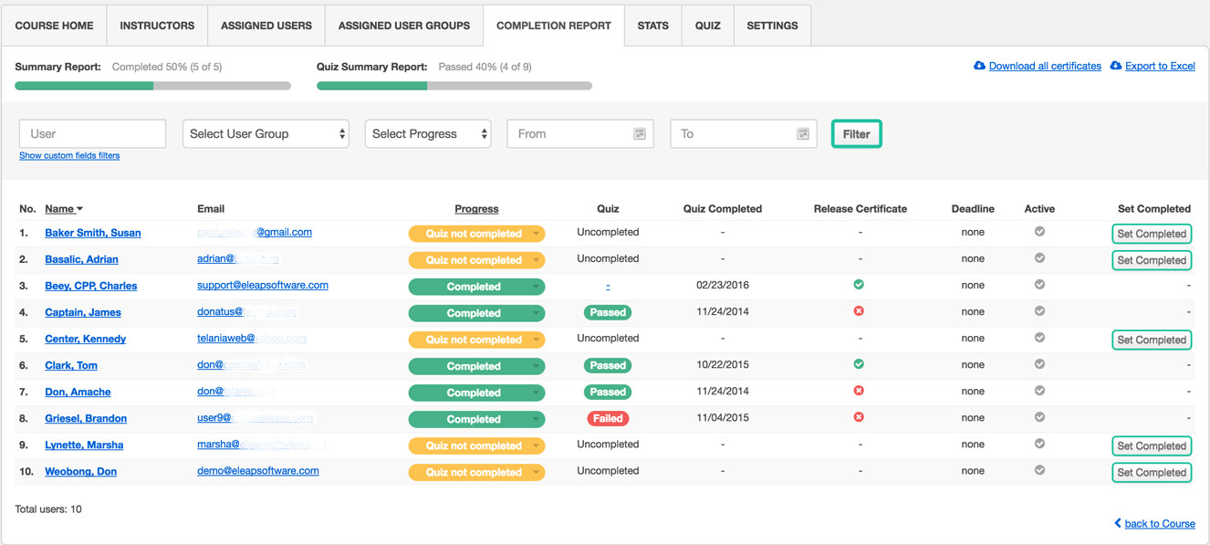 LMS Automated Advanced Reporting and Tracking and Analysis