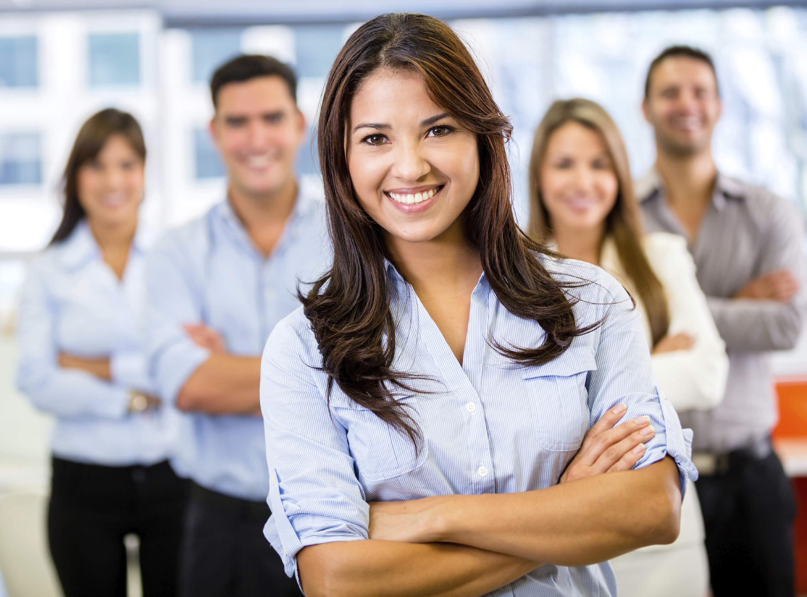 Businesswoman-leading-a-team