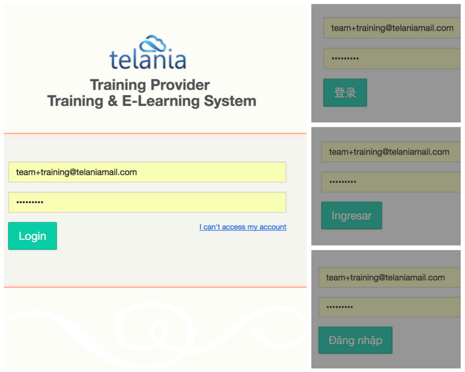 Learning management system login examples