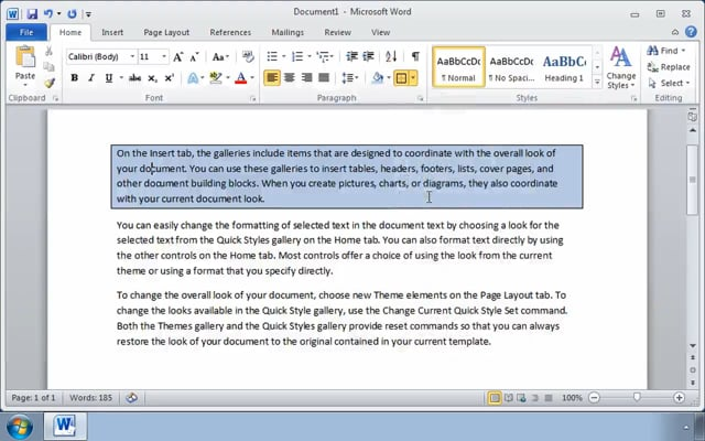 Microsoft Word 2010: Modifying the Appearance of Text in a Word Document