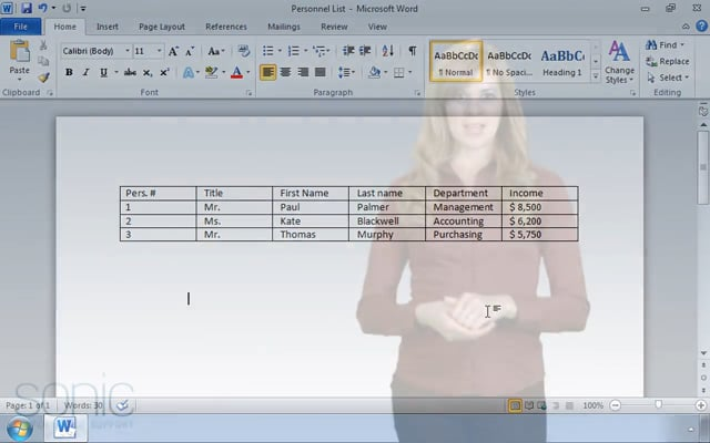 Microsoft Word 2010: Organizing Data in Tables