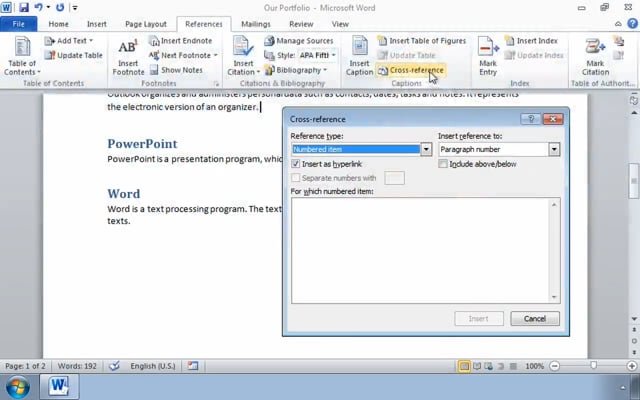Microsoft Word 2010: Adding Reference Marks and Notes