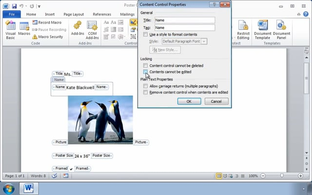 Microsoft Word 2010: Creating Forms