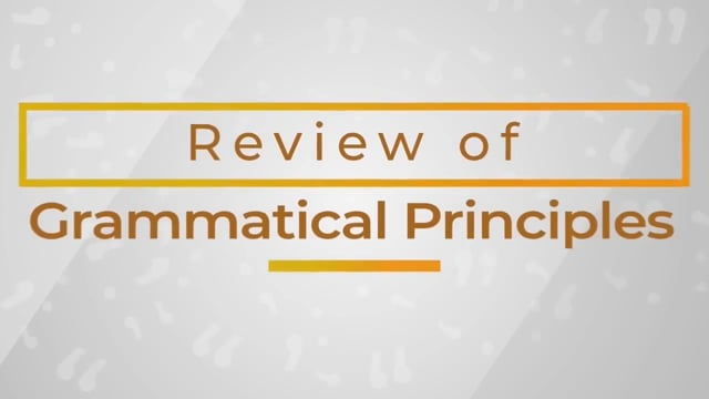 Business Writing: Review Of Grammatical Principles